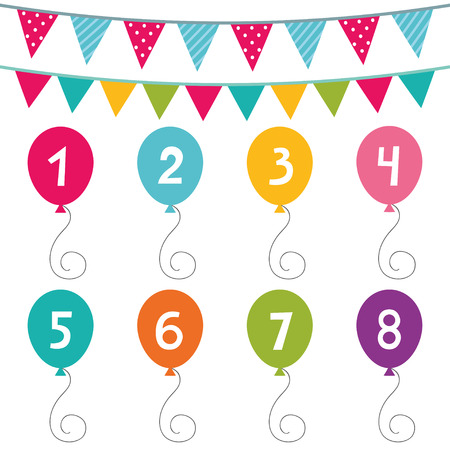 numbers clipart: Kid birthday party set