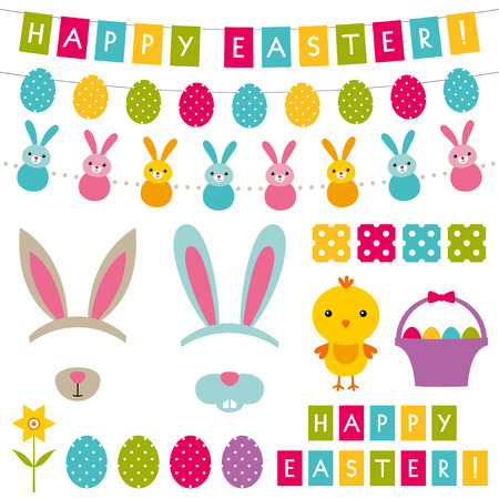 Easter decoration and photo booth props set Vector
