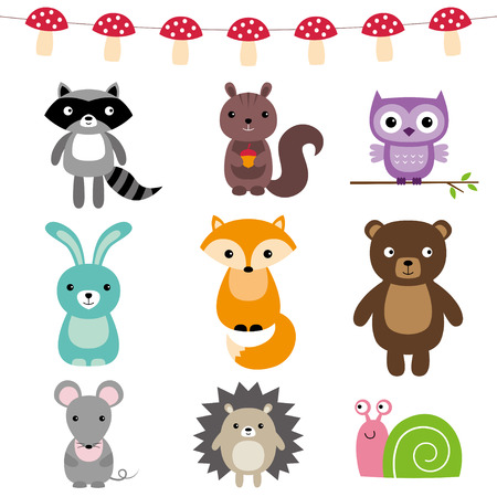 hedgehog: Forest animals set Illustration