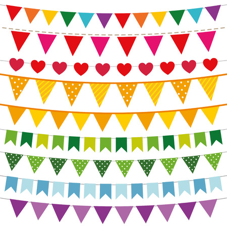 rainbow vector: Colorful bunting flags set