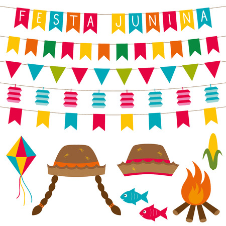cartoon party: Festa junina Brazilian June party decoration and photo booth props set Illustration