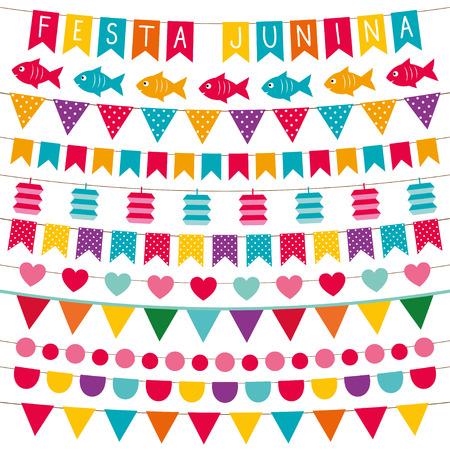 festa: Festa Junina bunting flags set Illustration
