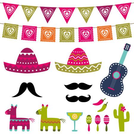 멕시코 파티 장식 및 사진 부스 소품 세트 일러스트