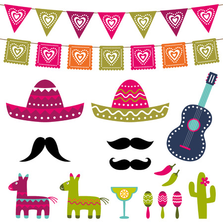 fiesta: Mexicaanse partij decoratie en photo booth props set Stock Illustratie