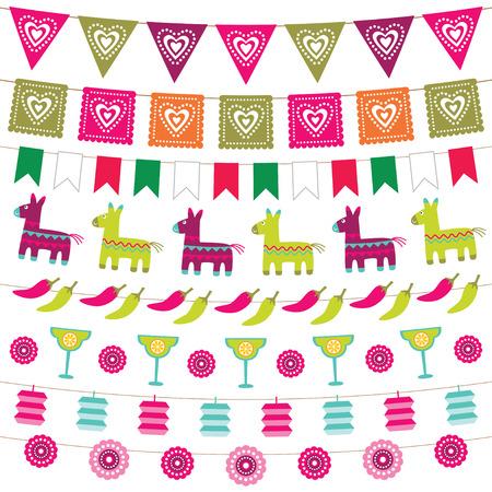 drapeau mexicain: Fête mexicaine drapeaux étamine fixés Illustration