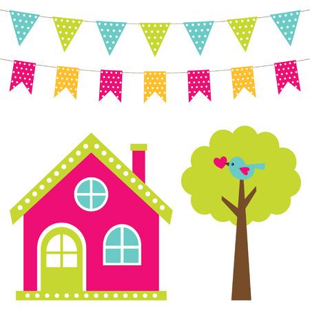 tree house: Cute house and tree set