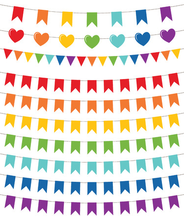 Rainbow colors flags set