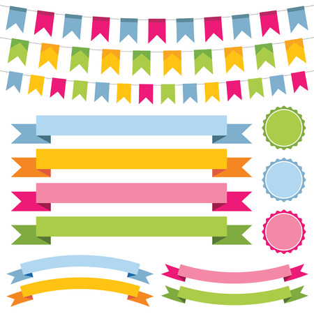 Bunting, banner ribbons and labels set