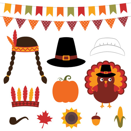 Thanksgiving photo booth rekwisieten en design elementen Stock Illustratie