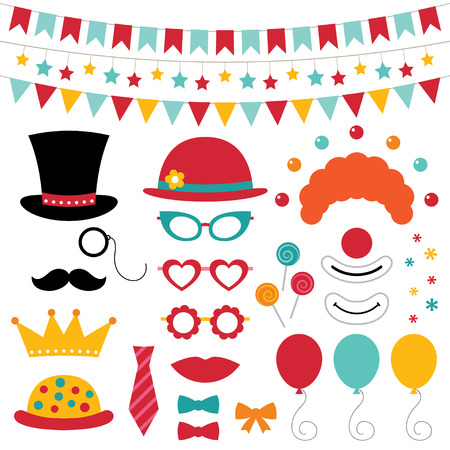 kids party: Circus photo booth props and decoration