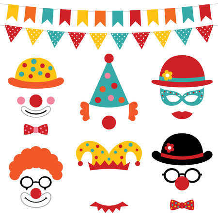 Circus and clown photo booth props Stock Illustratie