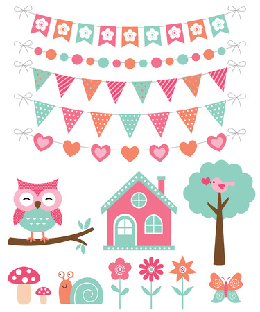 summer house: Summer decoration and design elements Illustration