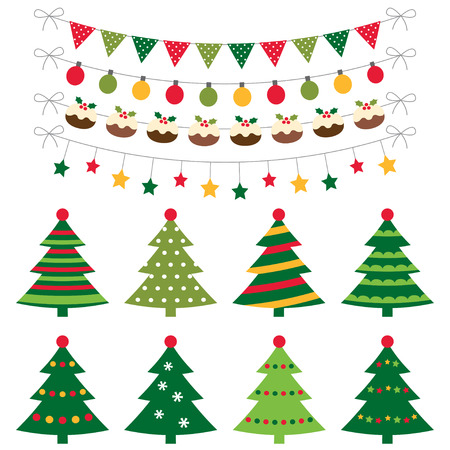 christmas parties: Christmas trees and decoration set Illustration