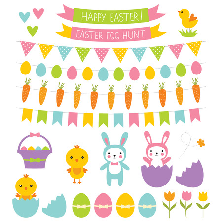 cartoon easter basket: Easter design elements