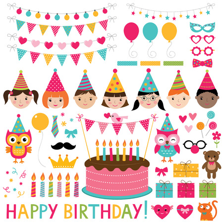 celebração: Conjunto festa de aniversário crianças Ilustração
