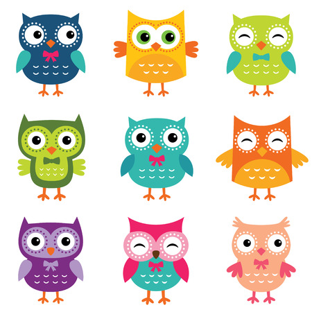 with sets of elements: Isolated cute owls set