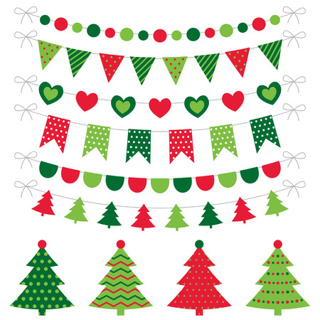 flags: Christmas trees and decoration set Illustration