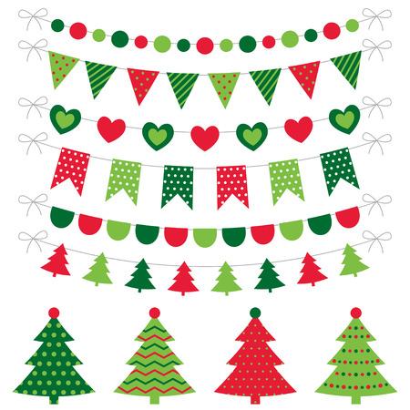 pudding: Christmas trees and decoration set Illustration