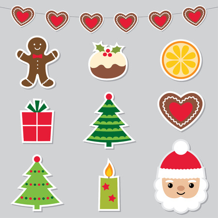 sticker vector: Christmas stickers set