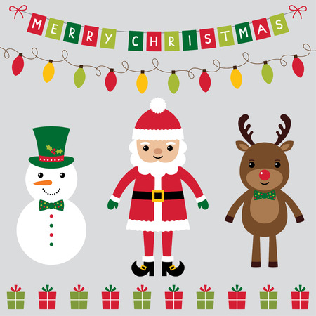 Christmas characters set Santa Claus, deer and snowman Illustration