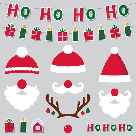 クリスマス サンタ帽子と飾りセット  イラスト・ベクター素材