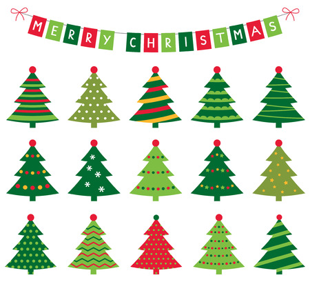 christmas trees: Christmas trees and banner set Illustration