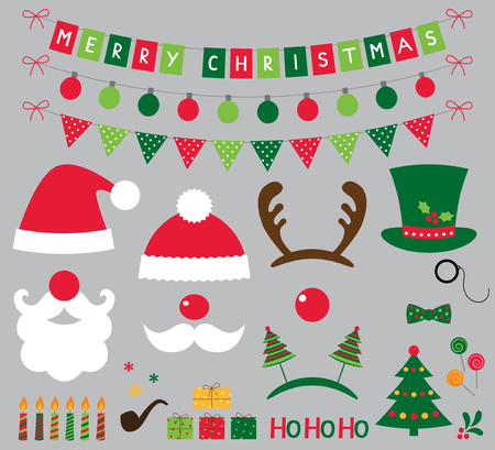 santa claus hats: Christmas photo booth and decoration set Illustration