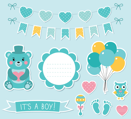 baby stickers: Baby boy arrival stickers set Illustration