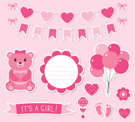 arrival: Baby girl arrival stickers set