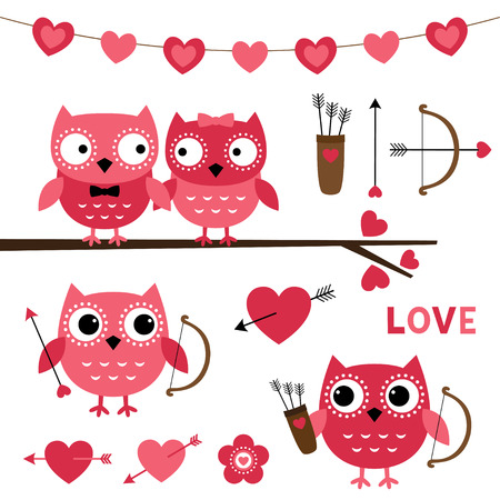 love cartoon: Owl couple in love and cupid owls, Valentines Day set