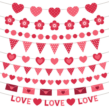 pink flower: Pink decoration for Valentines Day hearts and flags bunting