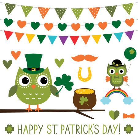 st patricks party: St. Patrickss Day owls set