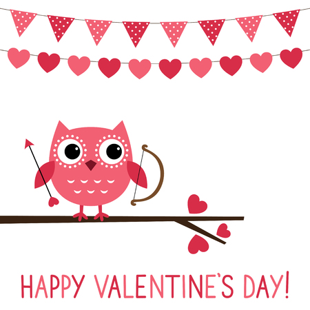 happy valentines day: Cute owl Valentine card
