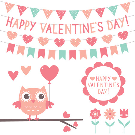 pink banner: Valentines Day set - cute owl and decoration