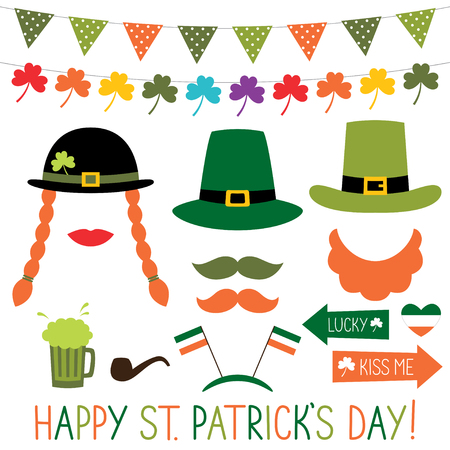 Photo booth props and decoration for St. Patricks Day Illustration