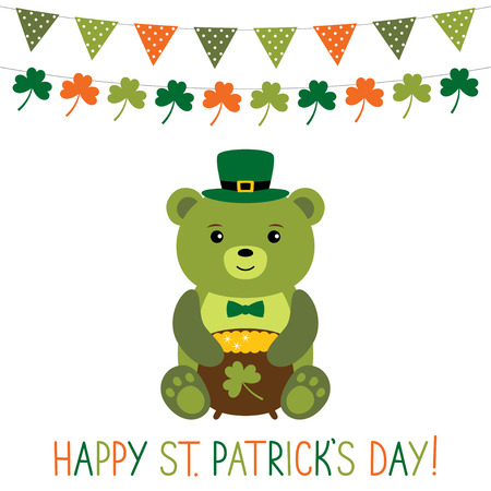 animal st  patricks day: Greeting card for St. Patricks Day with cute bear Illustration