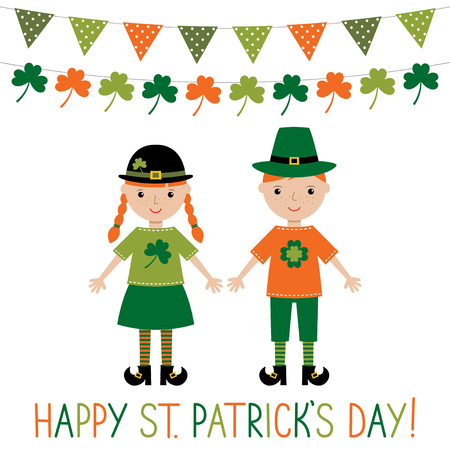 Greeting card for St. Patricks Day with cute kids