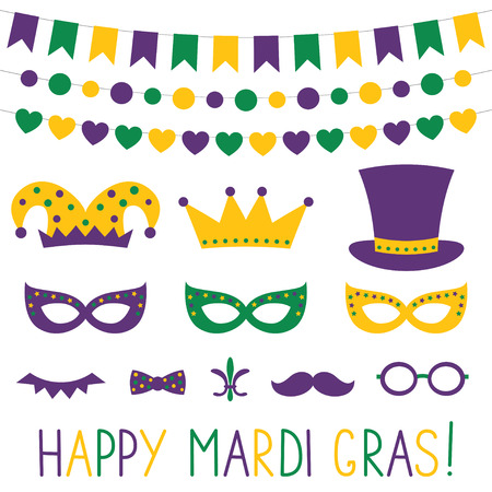 Mardi Gras decoration and photo booth props Illustration