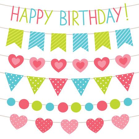 child birthday: Birthday party bunting flags set Illustration