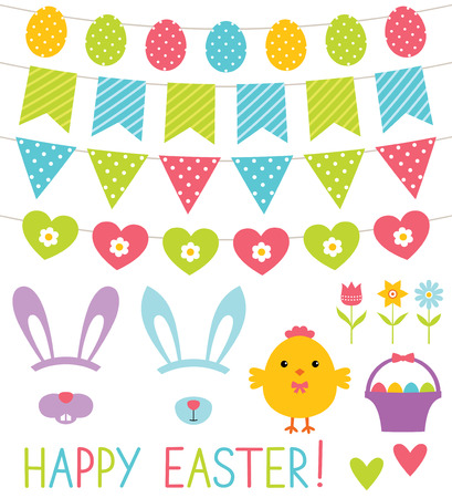 cartoon easter basket: Easter design elements set
