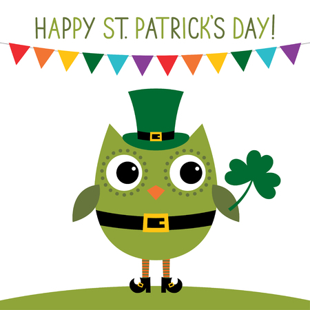 owl illustration: St. Patricks Day card