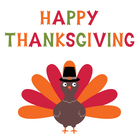 Thanksgiving vector card with a turkey, text in hand lettered font
