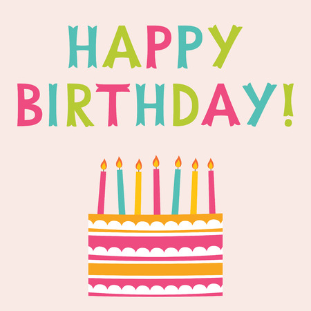 hand lettered: Happy Birthday greeting card, text in hand lettered font