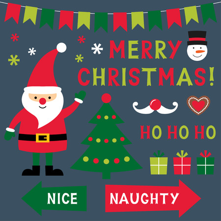 naughty or nice: Merry Christmas design elements set Illustration