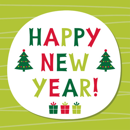new year frame: Happy New Year frame, text in hand lettered font