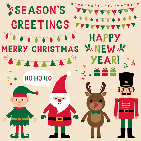 nutcracker: Christmas characters (Santa, Elf, reindeer, nutcracker) and lettering, text in hand lettered font