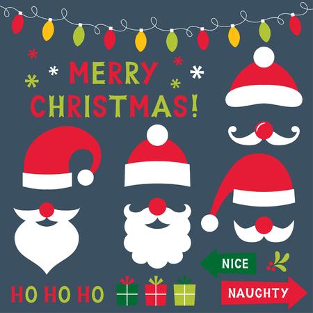 christmas hats: Christmas clipart set (Santa hats and decoration)