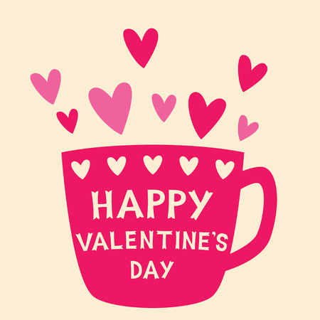 Valentine card with pink cup and hearts