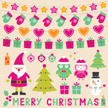 Christmas set with Santa Claus, cartoon owls and decoration Illustration