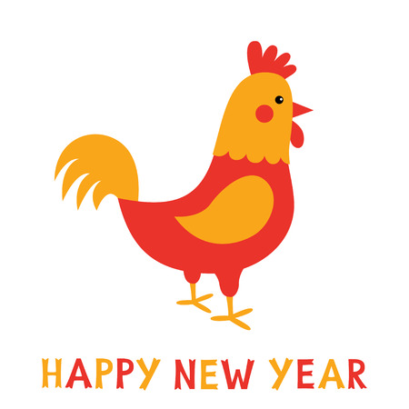 New Year card with a rooster